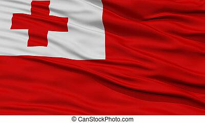 Closeup Tonga Flag, Waving in the Wind, High Resolution