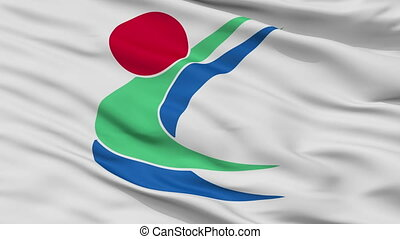 Closeup Toon city flag, prefecture Ehime, Japan - Toon close...