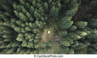 Top down tent at mountain pine forest aerial. Nature autumn landscape. Pavilion camp for tourists rest and recreation. Mountaineering lifestyle. Vacation at Carpathians fir mount, Ukraine, Europe