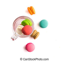 Closeup Top view French macaroons colorful on glass with white background, sweet and dessert menu