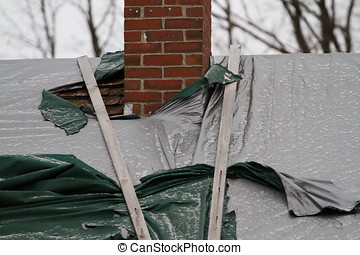 Closeup Torn tarps around chimney