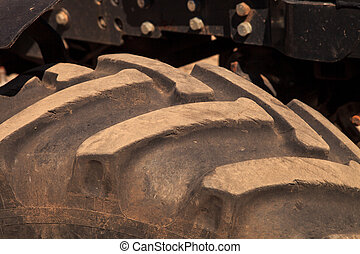 closeup tractor wheel tire