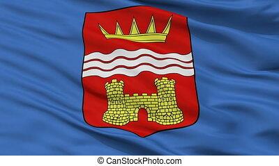 Closeup Tsalenjikha Municipality flag, Georgia