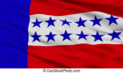 Closeup Tuamotu Islands city flag, French Polynesia -...