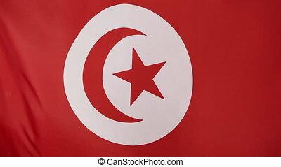 Closeup Tunisian flag, slow motion
