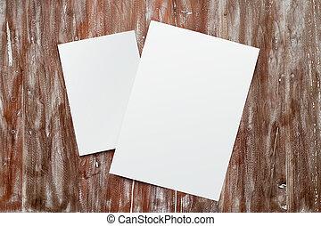 Closeup Two Blank White Paper Sheet Mockup Natural Wood...
