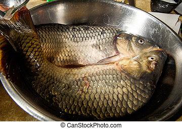 closeup two peeled fresh crucian carp fish
