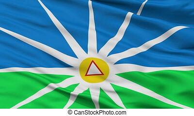 Closeup Uberlandia MinasGerais Brasil city flag, Brasil -...