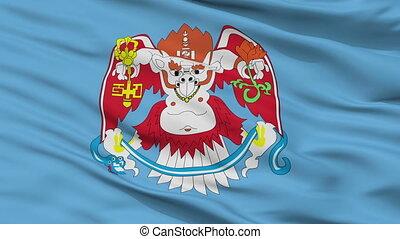 Ulaanbaatar closeup flag, city of Mongolia, realistic animation seamless loop - 10 seconds long