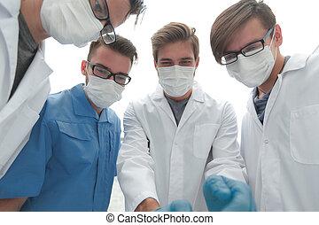 closeup., um, equipe, de, doutores, em, protetor, masks.