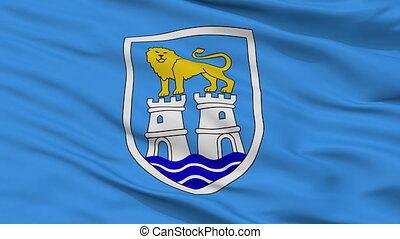 Closeup Umaga city flag, Croatia - Umaga closeup flag, city...