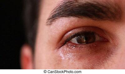 closeup, uomo, occhio, pianto