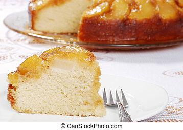 closeup upside down pear cake