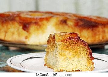 closeup upside down pineapple cake