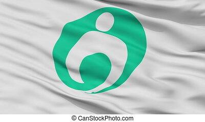 Closeup Usa city flag, prefecture Oita, Japan - Usa close up...