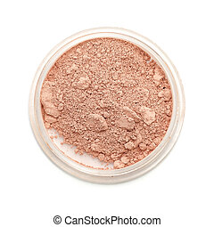 Closeup used makeup powder on white background