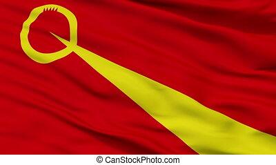 Closeup Valandovo city flag, Macedonia - Valandovo closeup...