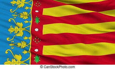 Closeup Valencian Community flag, Spain - Valencian...