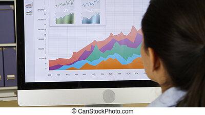 closeup, van, businesswoman, kijken naar, diagrammen, op, computer