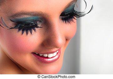 closeup, van, een, mooi meisje, met, extreem, makeup