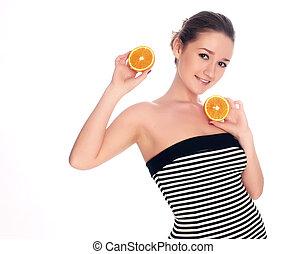 closeup, van, een, mooi, woman`s, gezicht, met, sinaasappel