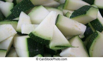 closeup, van, gehakte, zucchini, met, selectieve nadruk