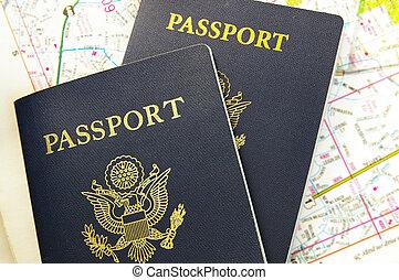 closeup, van, ons, paspoorten, op, een, kaart