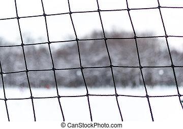 closeup, van, rafelig, sporten, netting, in, winter