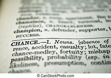 closeup, van, thesaurus, met, de, woord, kans