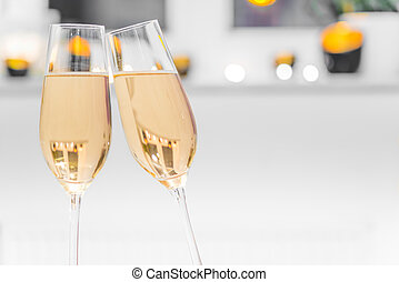 closeup, van, twee, bril, gevulde, met, champagne