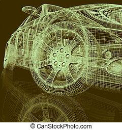 closeup, van, wielen, van, machine, op wit, achtergrond