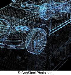 closeup, van, wielen, van, machine