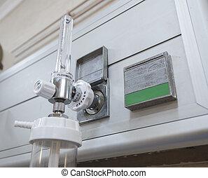closeup, van, zuurstof, flowmeter, in, ziekenhuis
