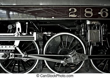 closeup, vapor, locomotiva