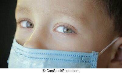 closeup, verband, afsluiten, gezicht, jongen, medisch