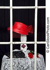 closeup, vermelho, retro/hat