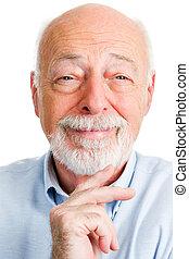 closeup, verticaal, man, het glimlachen, senior