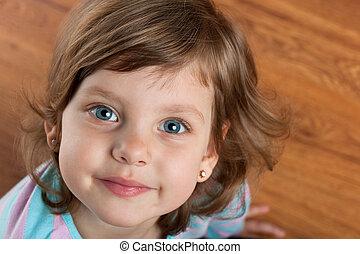 closeup, verticaal, van, een, het glimlachen meisje