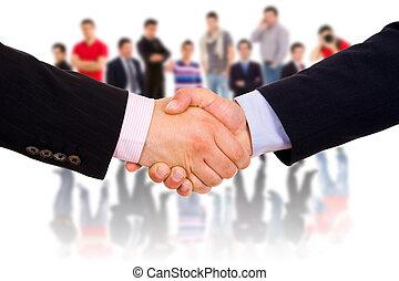 closeup, vervaardiging, agreement., handen, businesspeople, ...