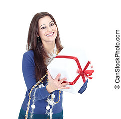 very happy beautiful woman with Christmas gift .isolated on a white