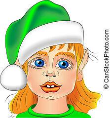 closeup, vettore, elfo, natale, ritratto