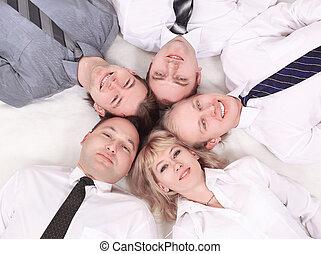 .closeup, vicino-lavora maglia, affari, team., isolato, su, white.