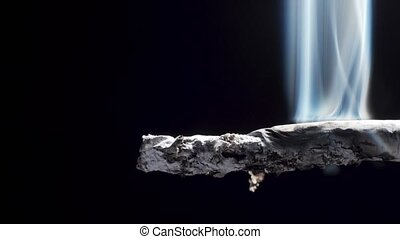 Closeup video of burning cigarette with filter and ash - ...