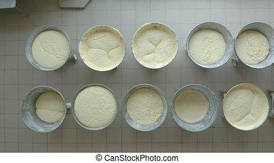 Closeup video of yeast dough in production. - Closeup video...