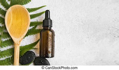 closeup, vie, huile, naturel, flatlay, bois, spa, skincare, fougère, cuillère, produits, pierres, vert, encore, botanique, masage, bouteille