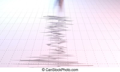 Closeup view of a seismograph arrow
