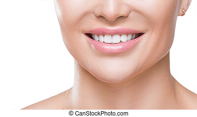 Closeup view of a woman's smile with white healthy teeth, isolated on white