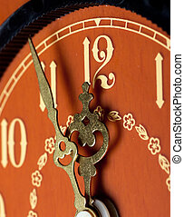 Last minutes - Closeup view of antique clock face. Last ...