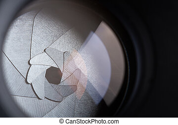 Closeup view of aperture blades of retro photo lens
