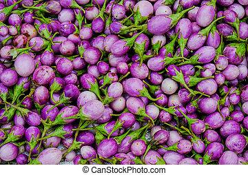 Closeup view of asian eggplants
